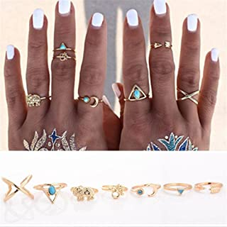 Niome 7Pcs Vintage Steampunk Cross Moon Anillos Midi Finger Knuckle Rings Set Gold