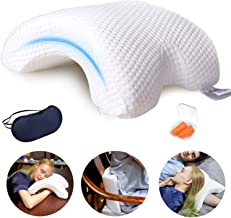LOCYOP Sleeping Pillow Couple Pillow Arm Pillow Slow Rebound Pressure Cuddle Pillow Memory Foam Travel Arched Shaped U Pil...