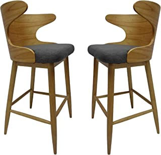 Christopher Knight Home Truda Mid Century Modern Fabric Barstools Set of 2 in Charcoal