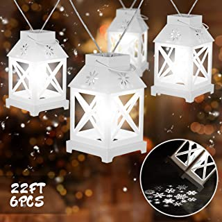 YUNLIGHTS Christmas Lights with Snowflake Projector, 22FT 6PCS Christmas String Lights, Plug in Christmas Decorations for Garden Patio Bedroom Party Decor Indoor Outdoor Celebration Lighting