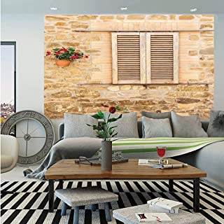 SoSung Tuscan Wall Mural,Rustic Stone House and Window Shutters Flower Pot on Wall Italian Country Home Theme,Self-Adhesive Large Wallpaper for Home Decor 55x78 inches,Beige