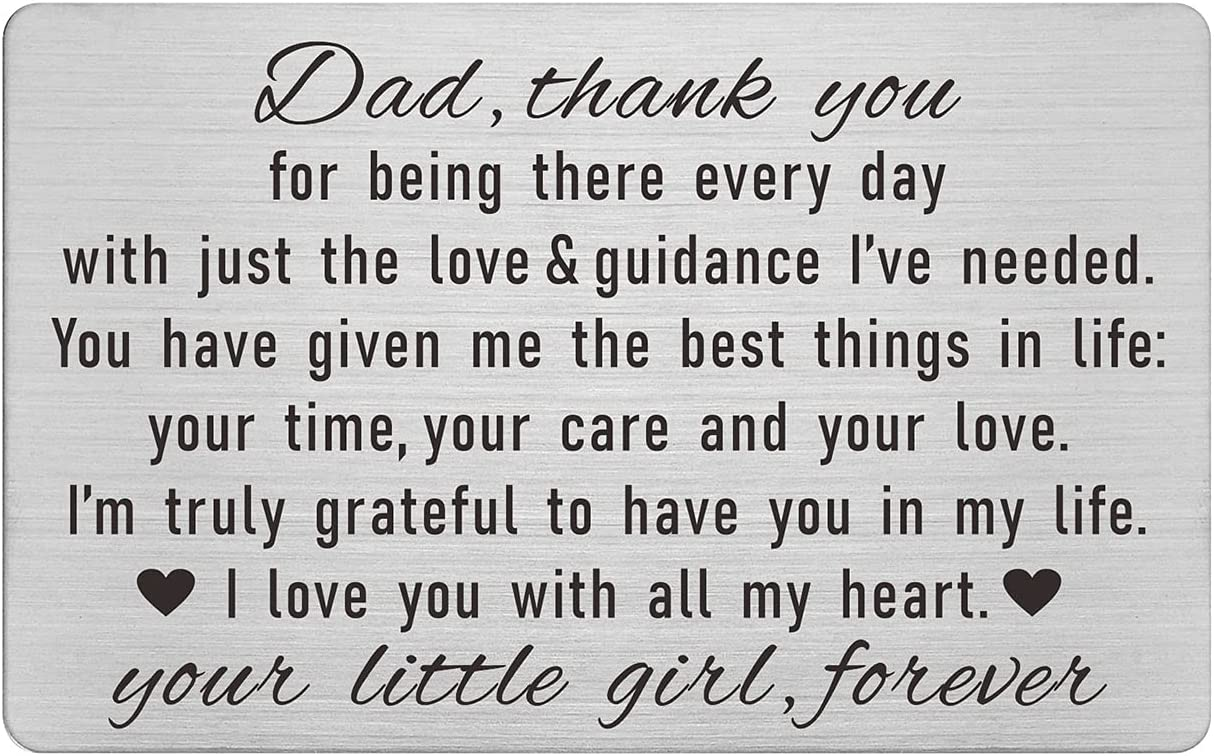 Dad Gifts from Daughter, Father Daughter Gifts, Dad Birthday Engraved Wallet Card Inserts, Thank You Dad I Love You, Fathers Day Christmas Keepsake