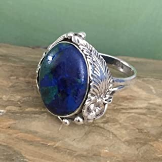 Sz 8, Natural Green MALACHITE in AZURITE Gemstone, 925 Sterling Silver Oval Ring Native American Style Jewelry for both Wo...