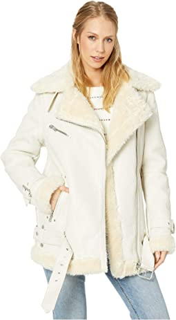 Oversized Faux Leather Sherpa Biker