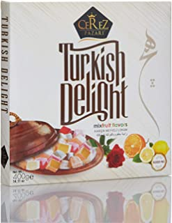 Turkish Delight with Fantastic Rose,Orange and Lemon Mix Flavors (No Nuts) Luxury %100 Hand Made Lokum Candy Dessert Gourmet Box (Approx.40 Pcs) 14 Oz