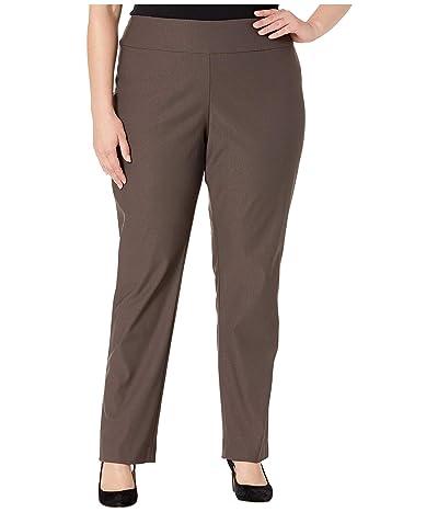 NIC+ZOE Plus Size Wonderstretch Pants (Dark Truffle) Women
