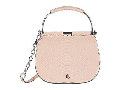 LAUREN Ralph Lauren Enfield Matte Python Suede Mason 20 Satchel Mini (Mellow Pink) Handbags