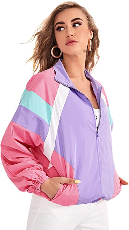 1980s Clothing, Fashion | 80s Style Clothes SweatyRocks Womens Casual Lightweight Color Block Bomber Jacket  AT vintagedancer.com