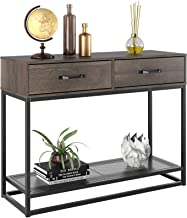HOMECHO Console Table, Sofa Table, Industrial Entryway Table with 2 Drawers and Storage Shelf, for Entryway Hallway Living...