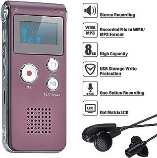 COVVY Digitaal dicteerapparaat, 8 GB, audio-opnameapparaat, digitale voicerecorder met spraakherkenning voor interview, le...