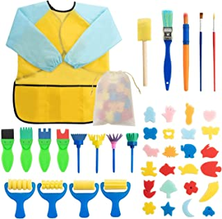 SKEIDO 42pcs Kids Early Learning Sponge Painting Brushes Kit,Sponge Drawing Shapes Paint Craft Brushes For Toddlers Assorted