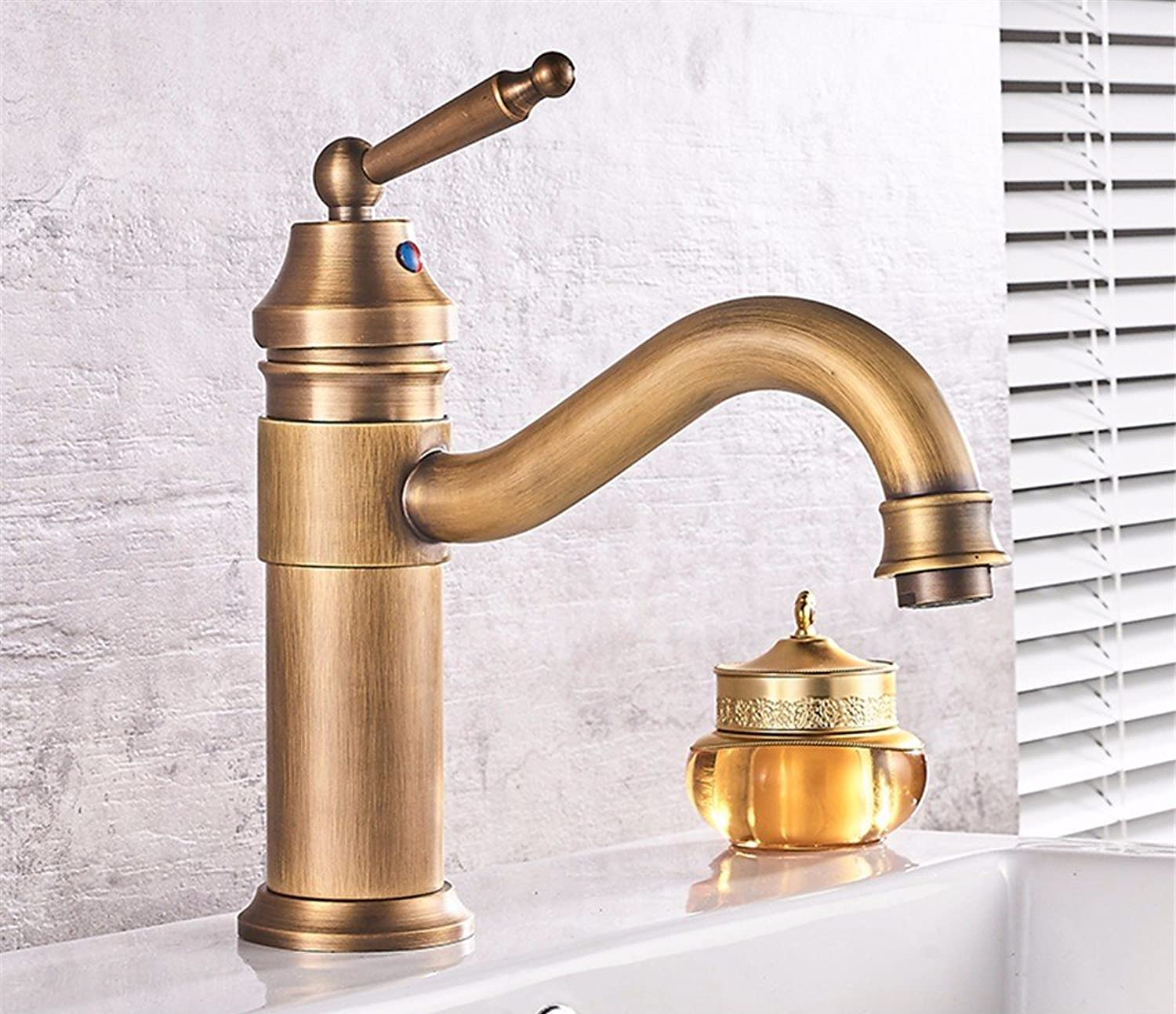 Hlluya Professional Sink Mixer Tap Kitchen Faucet Retro single hole Washbasin antique basin surface basin full copper cold water faucet