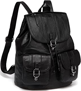 Backpack Purse for Women,VASCHY Fashion Faux Leather Buckle Flap Drawstring Backpack for College with Two Front Pockets Black