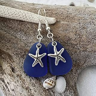 "product image for Handmade in Hawaii, cobalt Sapphire sea glass earring,""September Birthstone"", starfish charm, (Hawaii Gift Wrapped, Customizable Gift Message)"