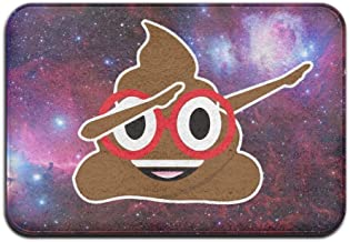 Soft Non-slip Funny Dabbing Poop Emoji With Red Glasses Bath Mat Coral Rug Door Mat Entrance Rug Floor Mats For Front Outs...
