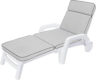 Coussin pour chaise longue de jardin - Gris cendré - 191 x 57 cm - Épaisseur : 5 cm - Coussin confortable pour chaise longue