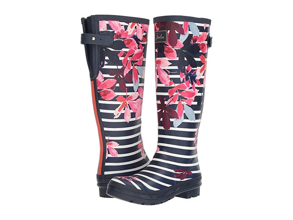 Joules Tall Welly Print (French Navy Chestnut Leaves) Women