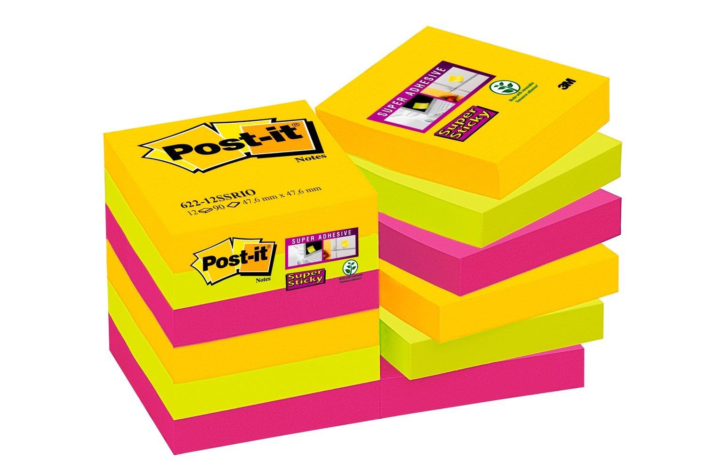 Post-it Super Sticky - Pack de 12 blocs notas, colección