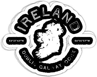 macknessfr Ireland Map Dublin Galway Cork Graphic Vintage Retro - 4x3 Vinyl Stickers, Laptop Decal, Water Bottle Sticker (Set of 3)