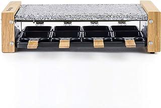 H.Koenig Appareil à raclette Multifonction 8 personnes WOD8 Design en bois naturel, Pierre granit amovible, Raclette froma...