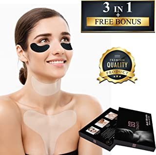𝗧𝗔𝗥𝗔𝗧𝗜 Premium 𝟯 𝗶𝗻𝟭 Silicone Gel Pads for Wrinkles | Collagen Charcoal Eye Mask with Neck and Chest Décolleté Pads | Reusable Silicone Skin Pad for Chest Wrinkles and Silicone Care Neck Pad