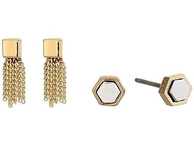 AllSaints Mini Tassel Stud Set Earrings (Gold/Rhodium) Jewelry Sets