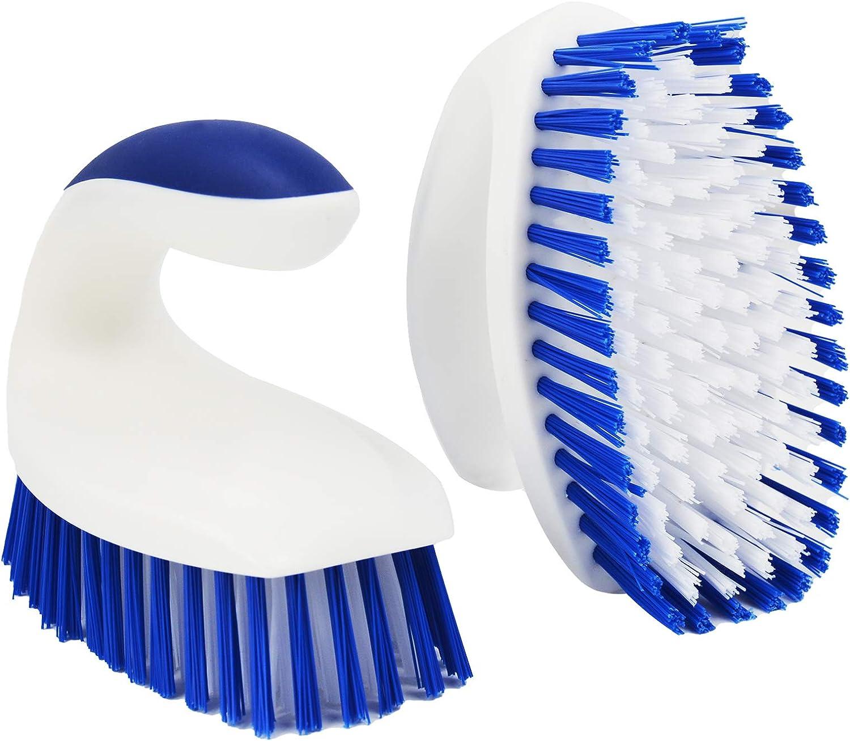 ITTAHO 2 cepillos de cerdas rígidas para limpieza, cepillo de limpieza resistente, cepillo de mano con mango sólido para piso, alfombra, azulejos, bañera, baño, cubierta (azul-blanco)