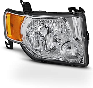 For 2008-2012 Ford Escape 4-Door SUV Passenger Side Only Headlight Assembly Chrome Housing Clear Lens