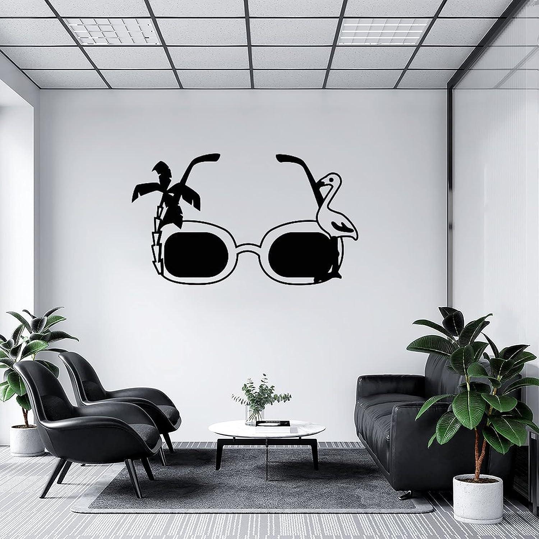 by Unbranded Pegatinas de pared para gafas de sol con palmera y flamenco negro 02, vinilo adhesivo para coches | Adhesivo de pared murales de arte decoración fresca 35.5 pulgadas de ancho