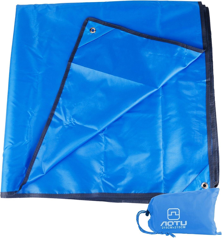 Htwon Camping Tarp 7 x 7 FT Oxford Waterproof Hammock Tarp Picnic & Beach Mat Mutifunctional Ground Cover Tent Footprint Shelter with Drawstring Carrying Bag for Hiking Sunshade (blueee)