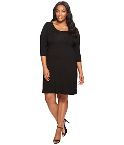Karen Kane Plus Plus Size Three Quarter Sleeve A-Line Dress (Black) Women
