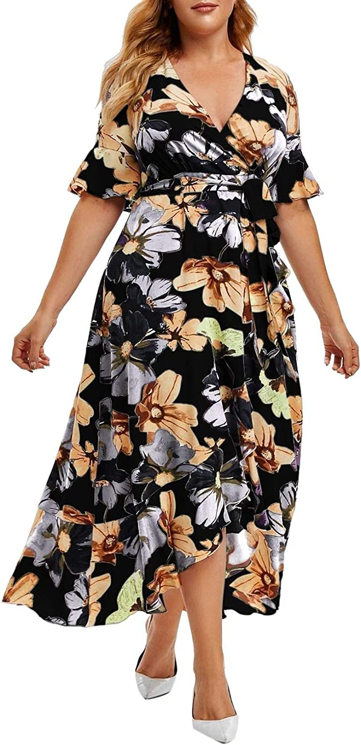 Youmymine Women Plus Size Dresses Fashion Floral Printed Crew-Neck Short Sleeve Casual Evening Party Dress