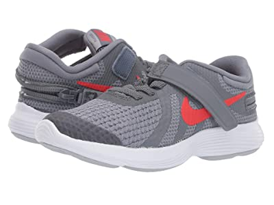 Nike Kids Revolution 4 FlyEase (Little Kid) (Cool Grey/Habanero Red/Wolf Grey/White) Kids Shoes