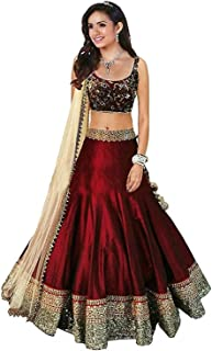 bf1a11f285 Loc Women's Bangalori Silk Semi-stitched Free Size Lehenga Choli (Multi  Colour)