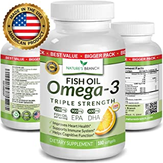 Best Triple Strength Omega 3 Fish Oil Pills - 180 Capsules - 2500mg High Potency Burpless Lemon Flavor 900mg EPA 600mg DHA Ultra Pure Liquid Softgels for Brain Joints Eyes Heart Health Supplement