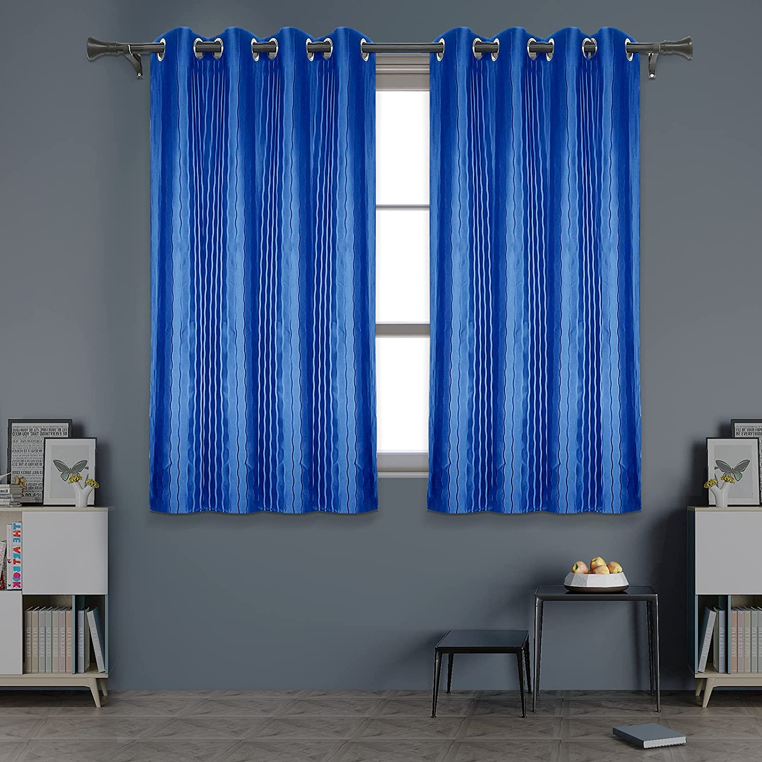 Blue Blackout Curtains with Wave Line Text Geometric 入荷予定 Drapes 情熱セール