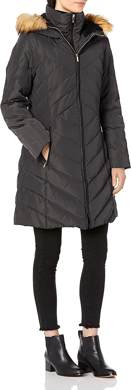 Jones New York Women's Chevron Down Coat with Faux Fur Trim Hood - Update To LY, Black, Small (J25749X-AN)