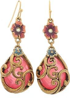 Guess UFE10808 Stone Inlay Filigree Fish-Hook Drop Earrings for Women