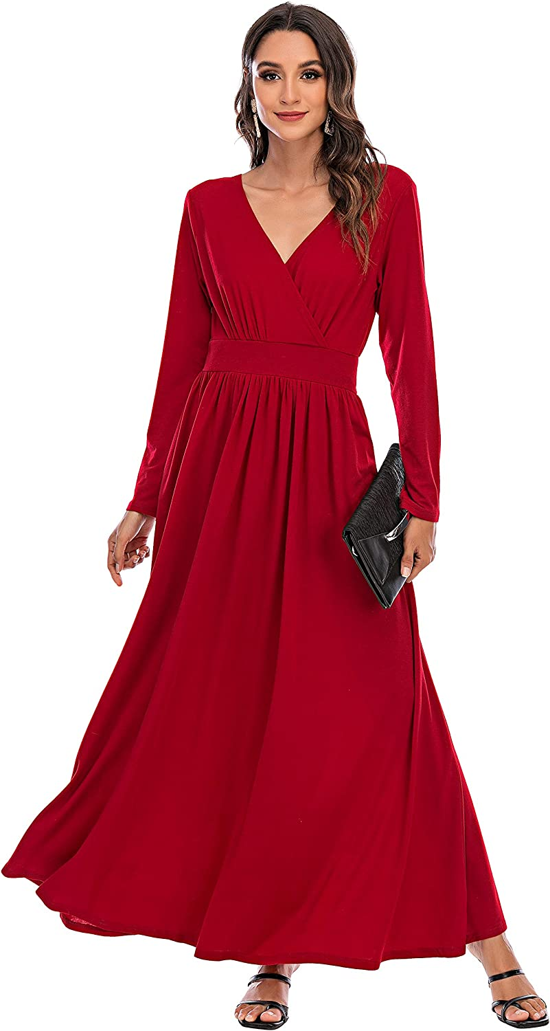 Double Chic Women's Casual Maxi Ranking TOP17 Dress Wrap Long Slee Outlet ☆ Free Shipping V Neck Deep