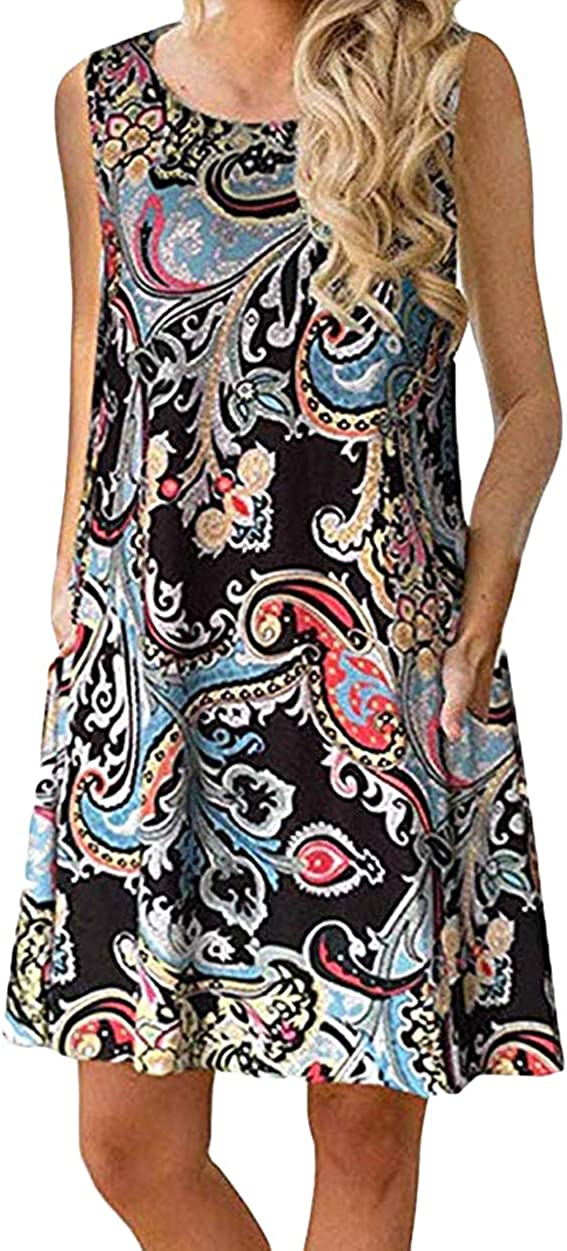 ZICUE Womens Sleeveless Summer Floral Dress T Shirt Simple Loose Sundress with Pockets