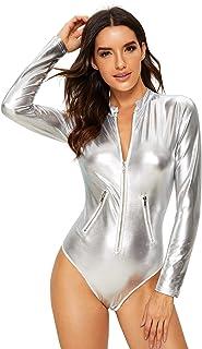 Verdusa Women's Long Sleeve Leather Zip Detail Sexy Bodycon Clubwear Bodysuit