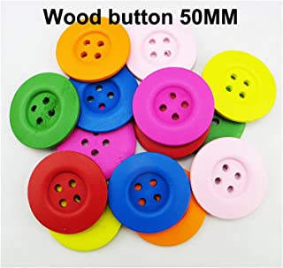 Durable 100PCS 50MM 4-Holes BLACK painting wooden buttons coat boots sewing clothes accessories SEWING (Color : Mixed)