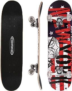 ChromeWheels 31 inch Skateboard Double Kick Skate Board Cruiser Longboard 8 Layer Maple Deck Skateboards for Kids and Begi...