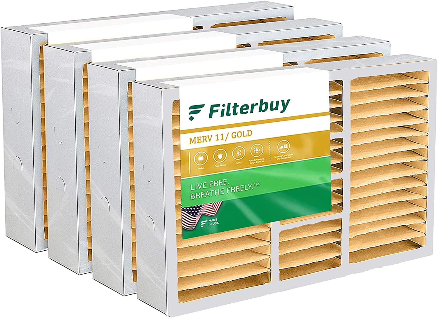 FilterBuy 20x25x5 Manufacturer OFFicial shop Air Filter 4-Pack MERV 11 Pleated Max 77% OFF Replacem
