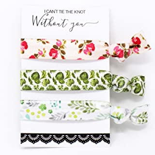 Bridesmaid Floral Ribbon Hair Ties KIT No Crease Elastics Handtied Ouchless Ponytail Holders Hair Band Bracelet Favors for Bachelorette Parties Bridal Showers (6 Pack, Floral)