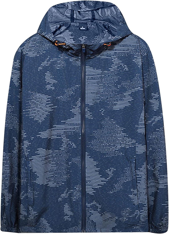 Athletic Windbreaker Lightweight Outdoor Jacket Men Printed Hooded Windproof Sweatshirt Running Cycling Fashion Coat