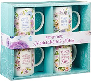 Inspirational Floral Mug Set - 4 Piece Set, Pastel Floral Collection