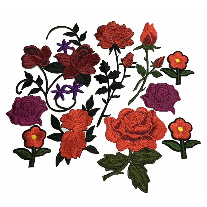 10pcs Red Rose Embroidered Iron On Patch Sewing Fabric Flower Applique Supplies