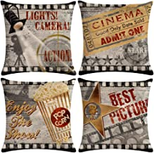 ULOVE LOVE YOURSELF 4pack Vintage Cinema Poster Pillow Covers Movie Theater with..