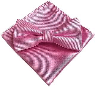Secdtie Men's Micro Polka Dots Wedding Party Pre-tied Bow Tie Pocket Square Set